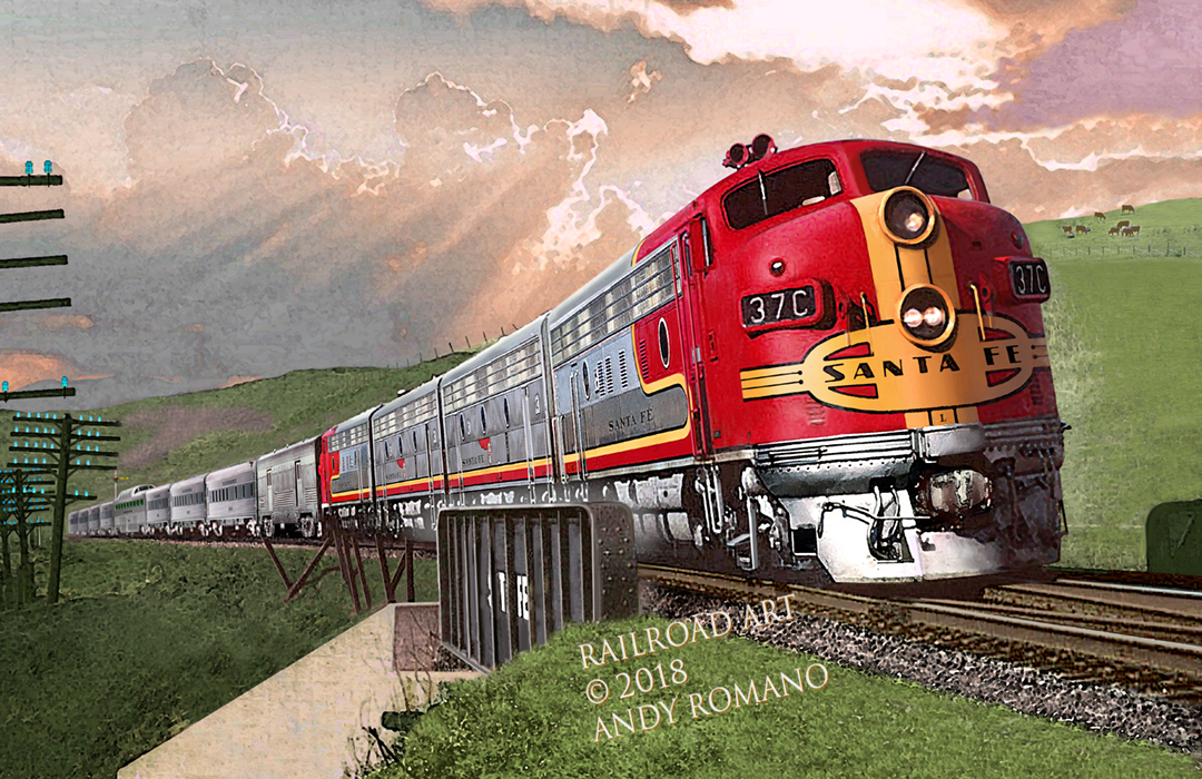 atsf santa fe 37 c warbonnet f7 with passenger train